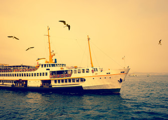 Turkish steamboat of Istanbul at sunset