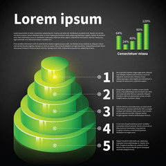 Green 3d cone chart with some infographic elements