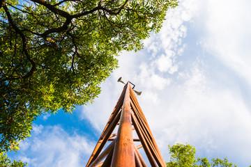 Megaphone post in public park, Ant-eye view