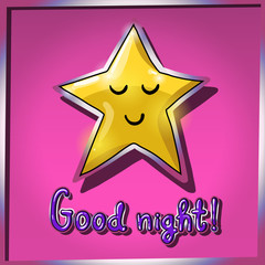Cartoon yellow smiling and sleeping star on pink background. Goo