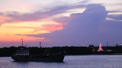 Ship in Chaopraya River at twilight