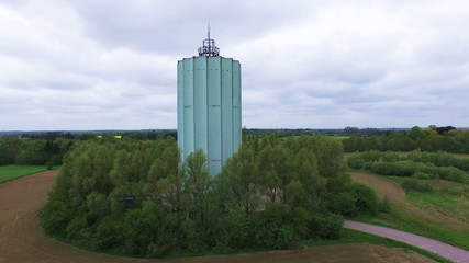 The blue water tower located in Kokkedal, Denmark