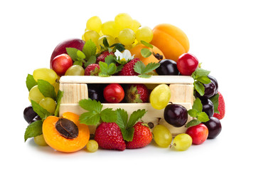 Fresh fruits in box.