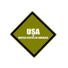 United States of America USA white stamp text on green