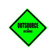 Outsource black stamp text on green background