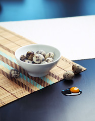 Image of quail eggs in a bowl on a table