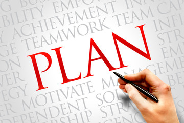 Plan word cloud, business concept