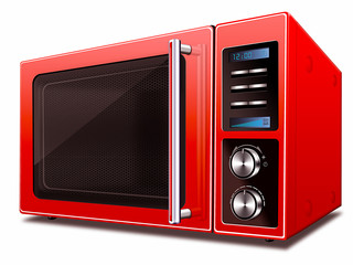 Moderne Mikrowelle, rot, freigestellt