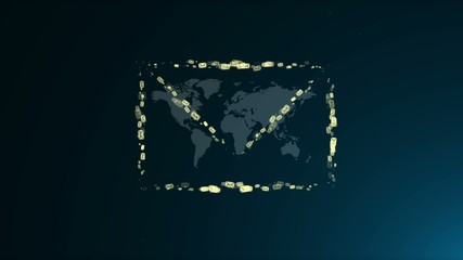 Animated e-mail icon. Many e-mail