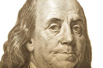 Portrait of former U.S. President Benjamin Franklin on the hundr