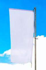 Blank White Banner Flag on Pole