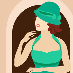 Illustration - portrait of a young woman in an old-fashioned hat