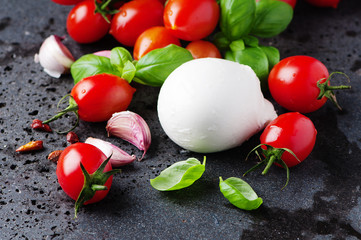 Concept of italian food with mozzarella, tomato and basil