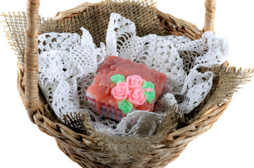 Soap handmade lace napkin in a wicker basket