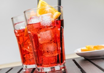 glasses of spritz aperitif aperol cocktail with orange