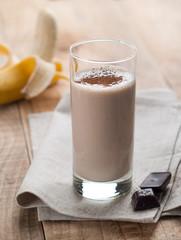 Chocolate and banana smoothie (milkshake)