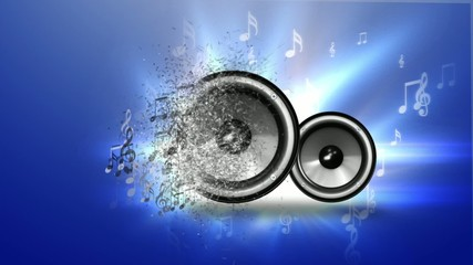 Abstract music with speakers on blue background