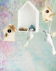 Vintage background with wooden birds