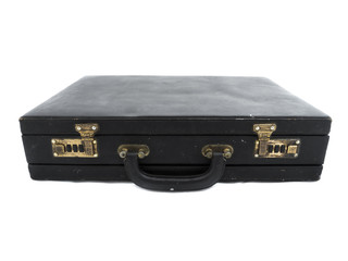 Old black suitcase