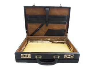 Old black suitcase