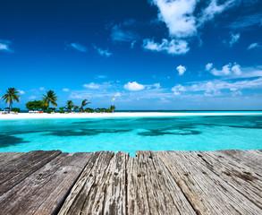 Beautiful beach with sandspit at Maldives