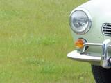 Lindgrüner Sportwagen der Sechzigerjahre auf grüner Wiese