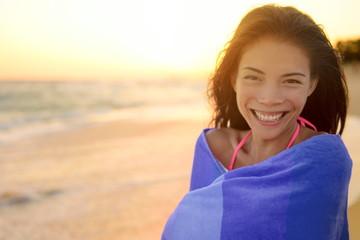 Bathing beach woman with towel happy portrait