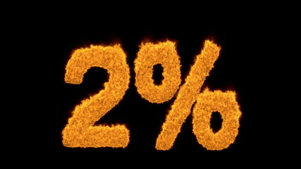 2 percent in flaming golden numerals