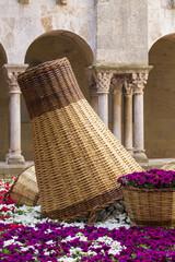 Purple flower garden with wood baskets