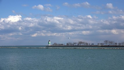Lake Michigan and Chicago Harbor Guidewall with Lighthouse