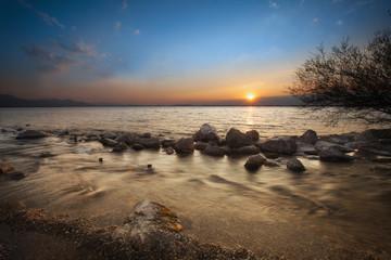 Rocky Shore of Lake Chiemsee at Sunrise