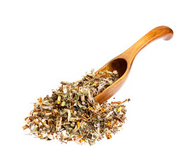 Genistae herba for medical use on wooden spoon, isolated on whit