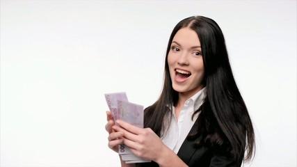 Business woman giving euro cash