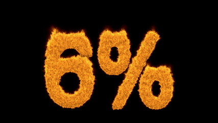 6 percent in fiery flaming golden numerals