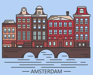 Old Amsterdam Holland houses on bridge set vector line drawn