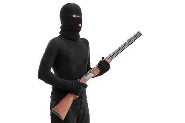 Dangerous criminal holding a shotgun rifle isolated on white bac