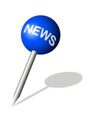 Runde blaue Stecknadel mit News Symbol