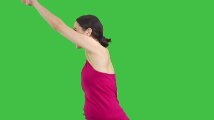 Sporty woman presenting copy space between hands