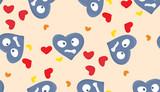 Blue Miserable Heart Pattern poster