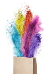 Paper bag with color powder splash isolated