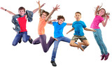 Fototapety happy dancing jumping children isolated over white background