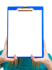 girl college student holds clipboard with empty blank