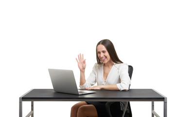 smiley businesswoman have video chat