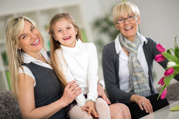Portrait of grandmother, mother and daughter