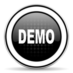 demo icon, black chrome button