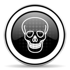 skull icon, black chrome button, death sign