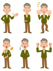 カーディガンの老人男性、6種類の表情と仕草