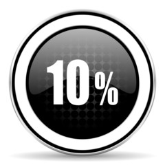 10 percent icon, black chrome button, sale sign