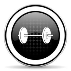 fitness icon, black chrome button