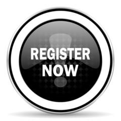 register now icon, black chrome button
